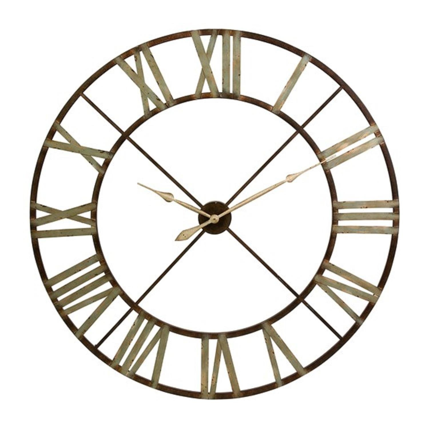 """CC Home Furnishings 48"""" Green Shaded Rustic Antiqued Iron Decorative Oversized Wall Clock"""