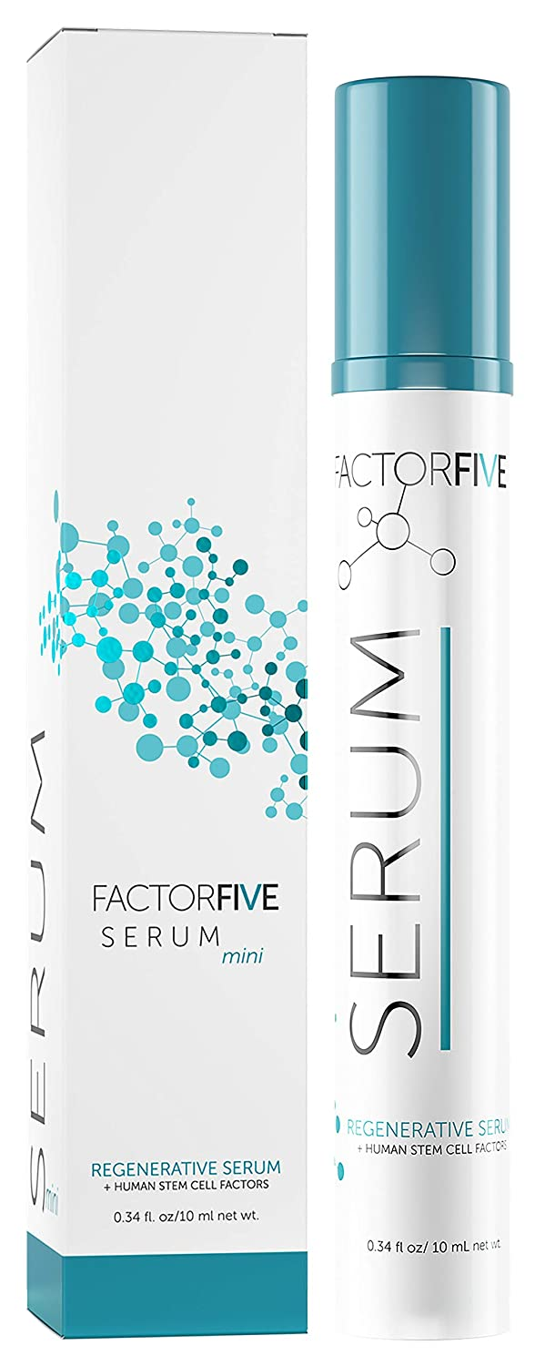FactorFive Regenerative Serum with Stem Cell Growth Factors, HGF for Skin Tightening and Smoothing, Wrinkle and Pore Reduction, and Rejuvenation - Travel Size, 0.34fl oz/10ml