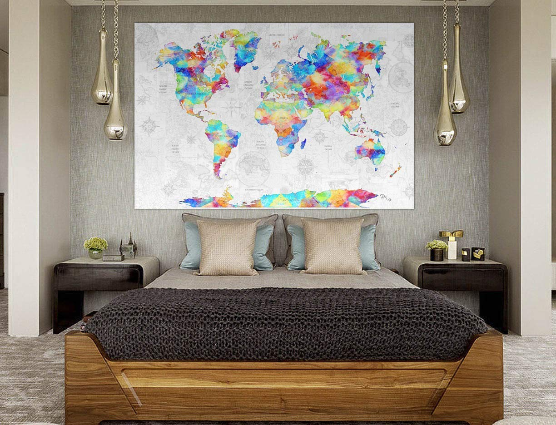 World Map Tapestry Rainbow Colors by Artist Dan Morris