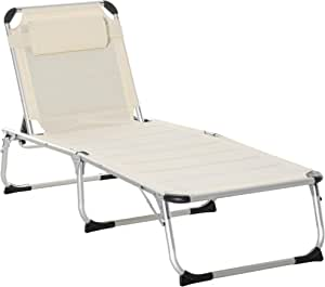 Outsunny Foldable Reclining Patio Sun Lounge Chair Chaise Lounge with 5 Position Adjustable Backrest & Comfortable Pillow for Outdoor Garden Porch, White