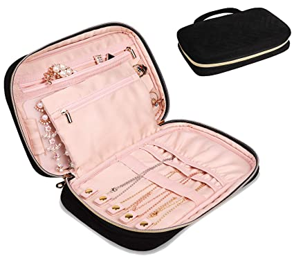 76ed11644f740 JIANYA Jewelry Travel Organizer Velvet Traveling Jewelry Case Storage Bag  for Necklace, Earrings, Rings, Bracelet (A-012 Black)
