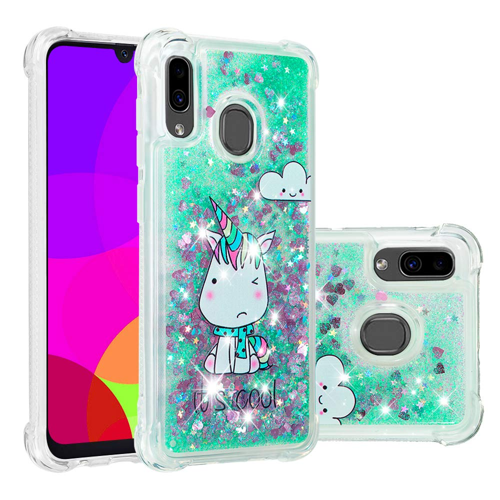 LEECOCO Case for Samsung A20 Bling Glitter Liquid Sparkle Floating Crystal Printing Flower TPU Silicone Rubber Bumper Shockproof Protective Cover for ...