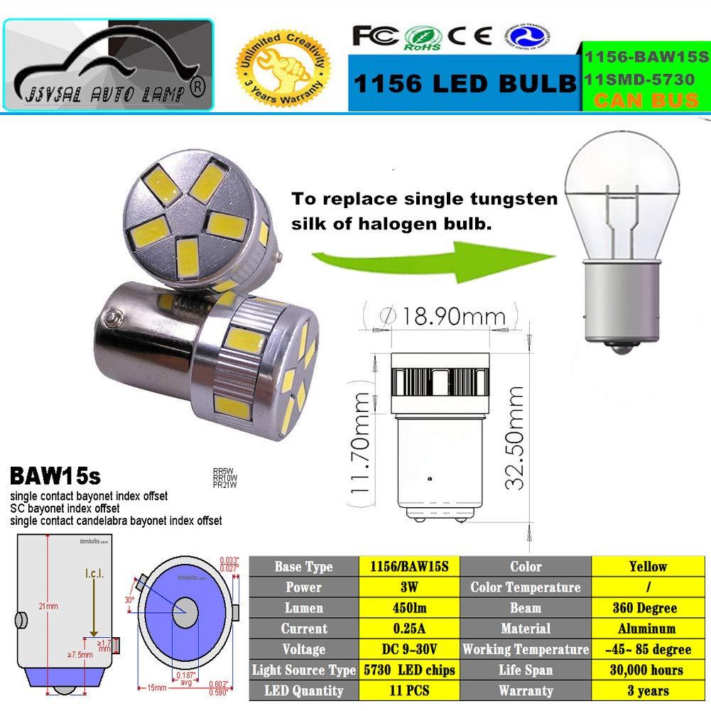JSVSAL BAU15S, Amber 3 years quality. pack of 2 1156 PW21W 1056 7507 5009 BAU15S s25 led bulb Super Bright For RV Camper SUV MPV Car Turn Tail Signal Bulb Brake Lamp Backup Lamps Bulbs DC9-30v
