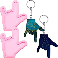 2 Pieces Rock Hand Finger Keychain Silicone Mold Finger Resin Mold Candy Chocolate Fondant Mold with 20 Pieces Key Rings for DIY Earring Dessert Cake Topper Decor Crystal Pendant Fondant Mold (Pink)