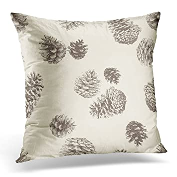 Amazon Emvency Throw Pillow Cover Brown Pinecone Pattern Of The Amazing Pine Cone Decorative Pillows