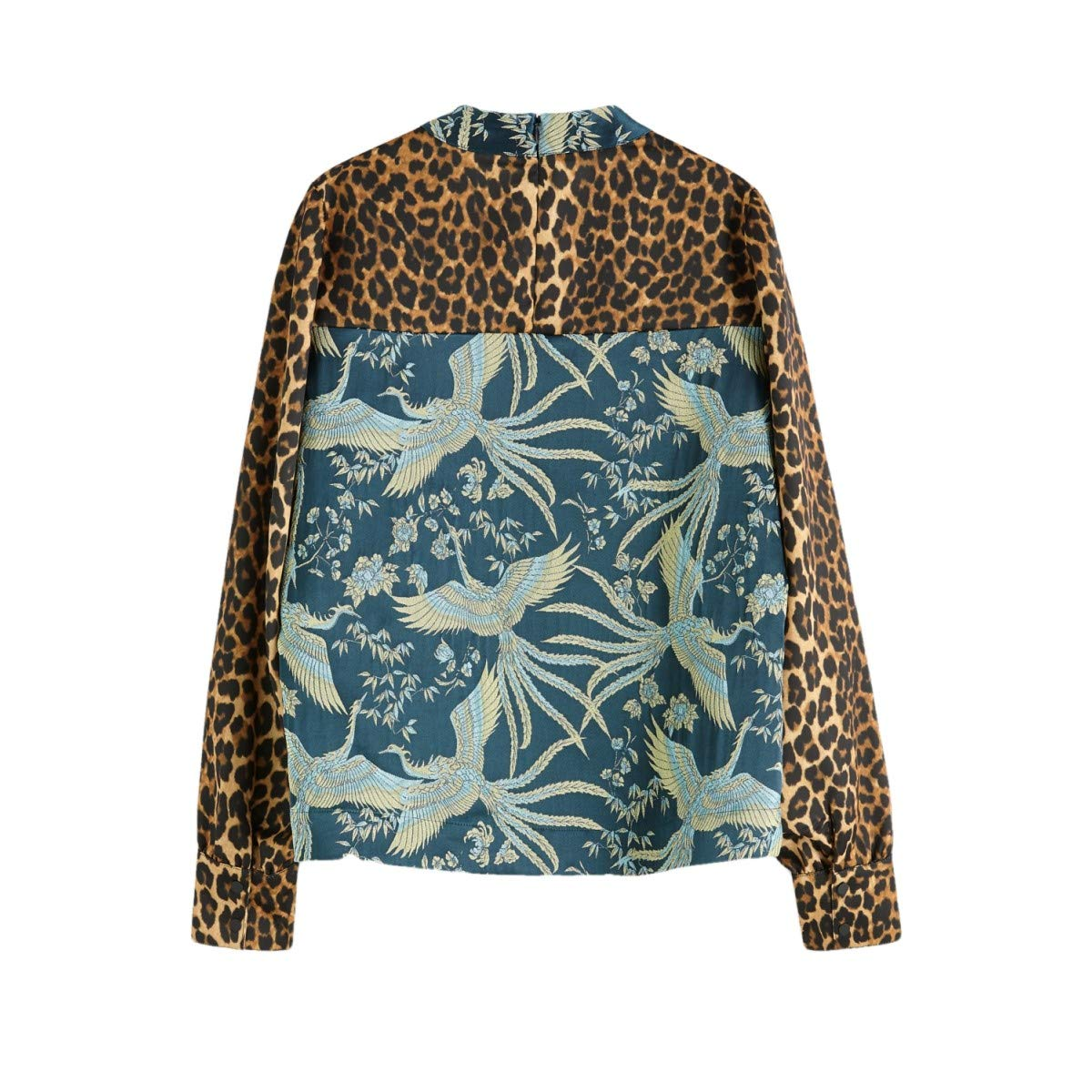 Scotch /& Soda High Neck Top in Mixed Prints Pull sans Manche Femme