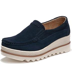 90a52c08773 Mocassini Donna in Pelle Scamosciata Moda Comode Loafers Scarpe da Guida  Ginnastica Estivi Basse Platform Sneakers