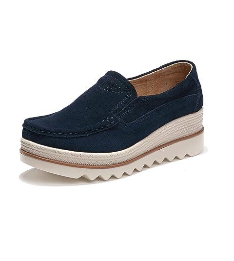 Mocasines de Loafer, Mujer Plataforma Flat Casual Primavera Verano Zapatos de Deporte Cuña 5cm Zapatillas Neogro Gris Khaki Azul 35-42: Amazon.es: Zapatos y ...