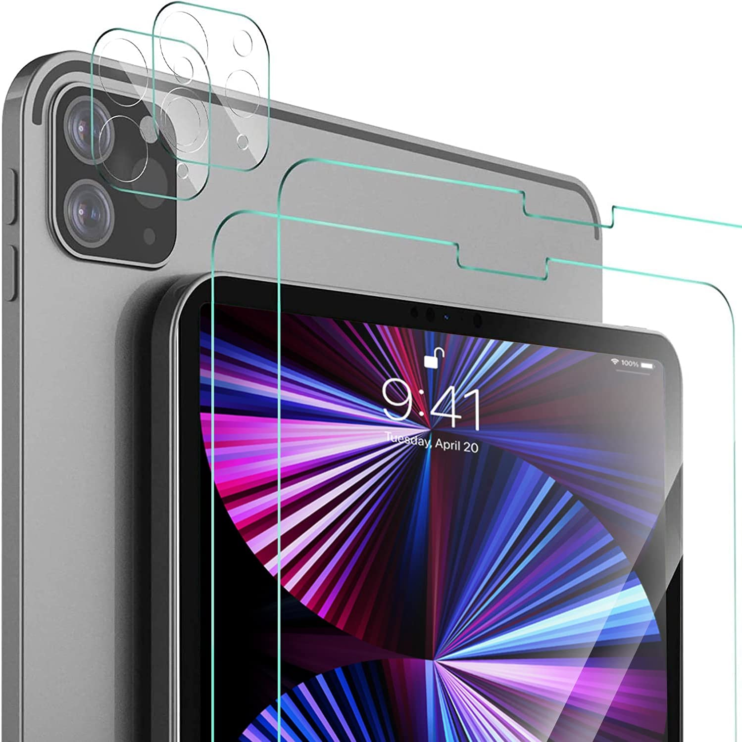 IVSO [2+2 Pack] Screen Protector for iPad Pro 12.9 2020 & 2021, 9H Hardness HD Clear Tempered Glass Bubble-Free Screen Protector,(2 Packs) Screen Protector + (2 Packs) Camera Lens Protector