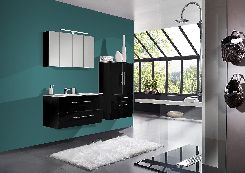 SAM® Badmöbel-Set Niagara 3tlg, 120 cm, hochglanz schwarz, mit Mineralguss-Waschbecken, Softclose-Funktion, Badezimmer mit Waschplatz, Spiegelschrank und Hochschrank