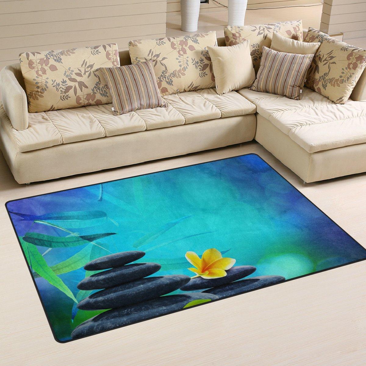 WellLee Area Rug,Dreamy Stones Leaves Floor Rug Non-Slip Doormat for Living Dining Dorm Room Bedroom Decor 60x39 inch