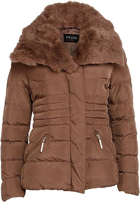 Few24 Damen Daunenjacke Edel Steppjacke Winterjacke Jacke Mantel Stepp Parka mit Gürtel und Fell