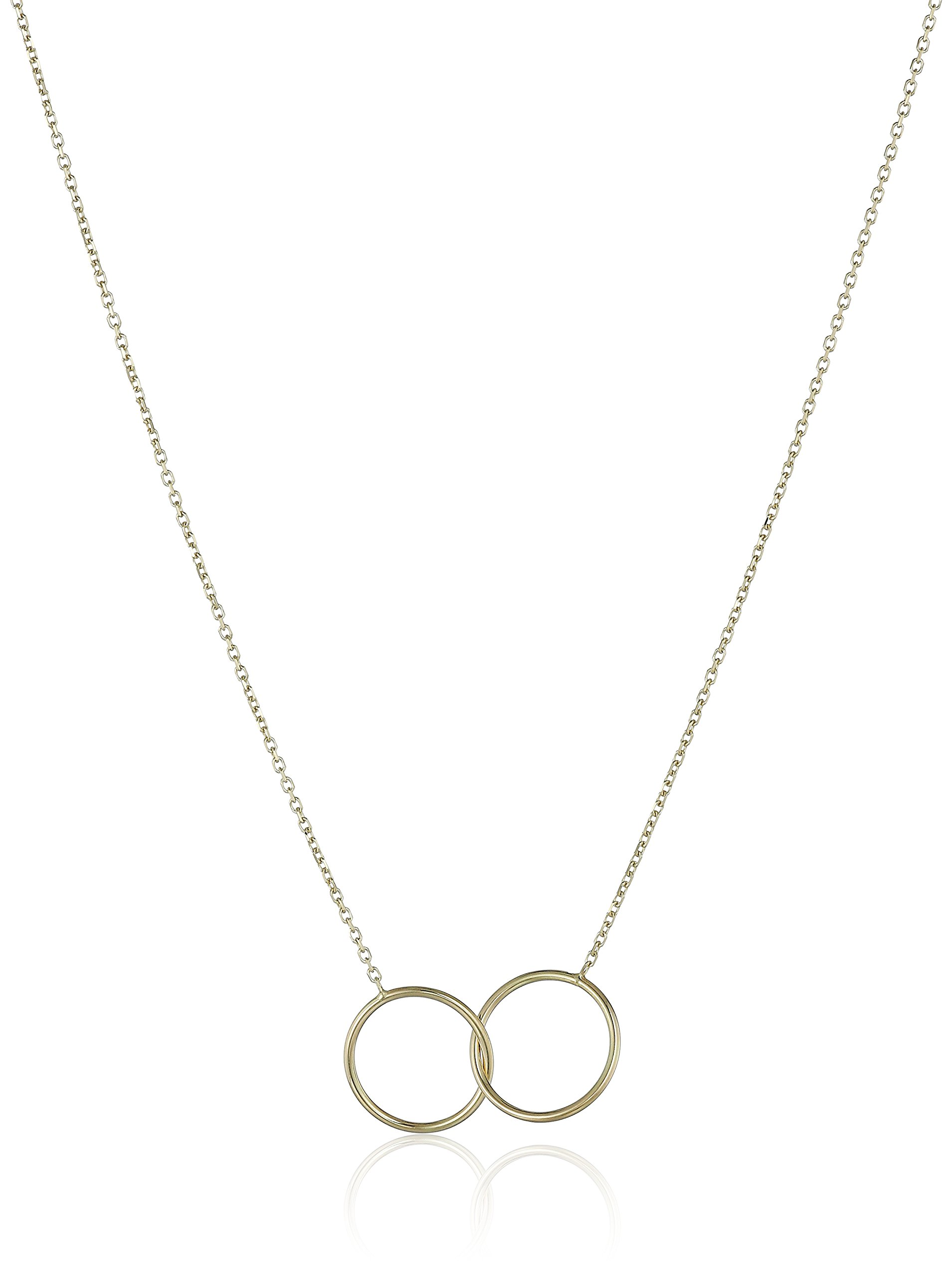 14k Italian Yellow Gold Double Circle Necklace, Adjustable 16'' to 17''