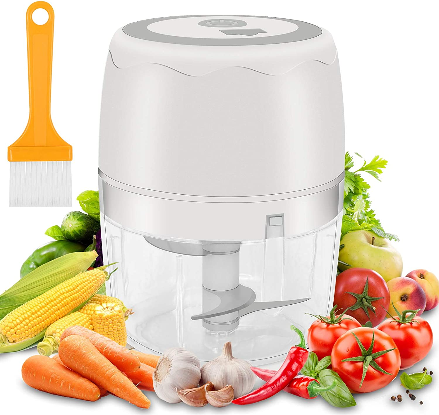 Electric Mini Food Chopper, Yingrace 400ML Electric Garlic Chopper, Multi-Function Blender Food Chopper USB Charging Small Grinder Cutter for Baby Food, Garlic & Meat & Vegetable Nuts, White