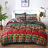 mixinni Vintage Floral Duvet Cover Queen Size with Zipper Closure, 100% Soft Microfiber Boho Style Print Pattern Bedding Set