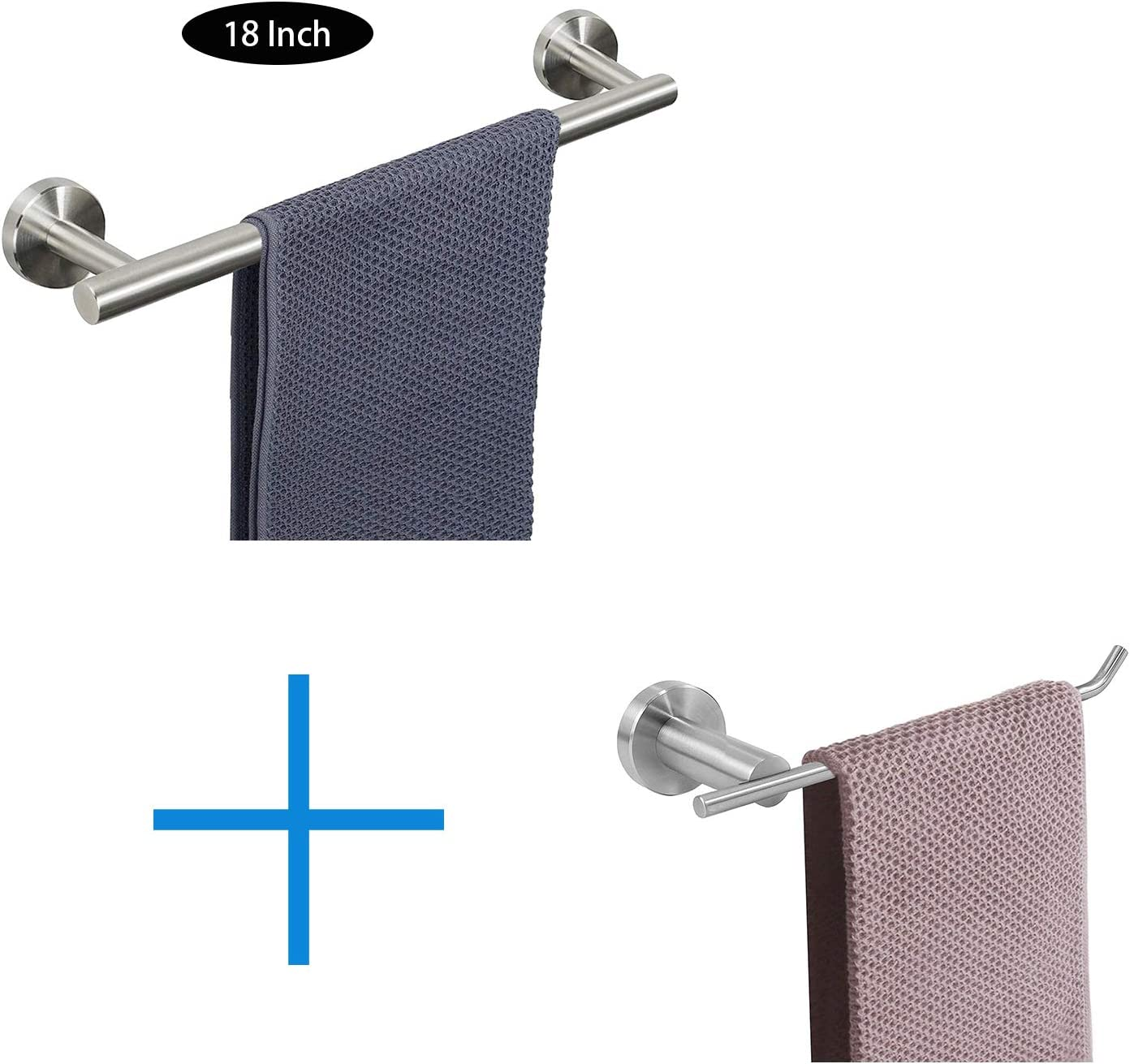 NearMoon Bathroom Towel Bar Towel Holder Wall Mounted Bath Accessories Thicken Stainless Steel Shower Towel Rack for Bathroom Brushed Gold, 9 Inch