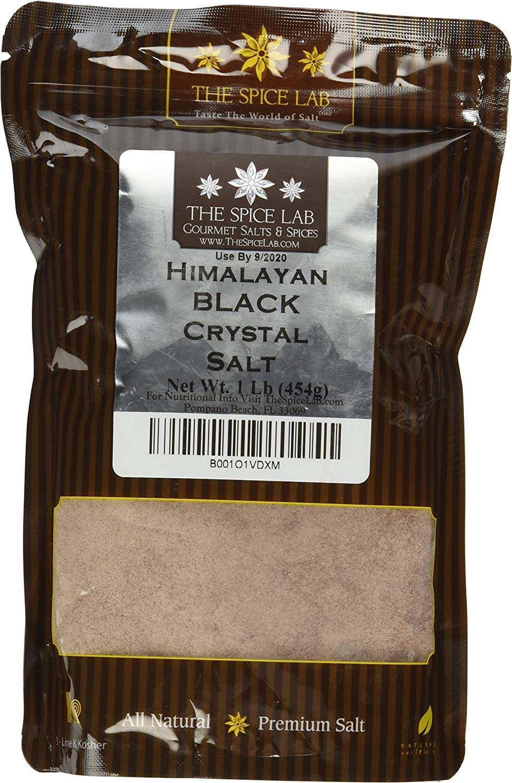 The Spice Lab Kala Namak Himalayan Black Crystal Indian Salt - Mineral Enriched Kosher Gluten-Free All Natural Salt - Fine Ground - 1 Pound Bag