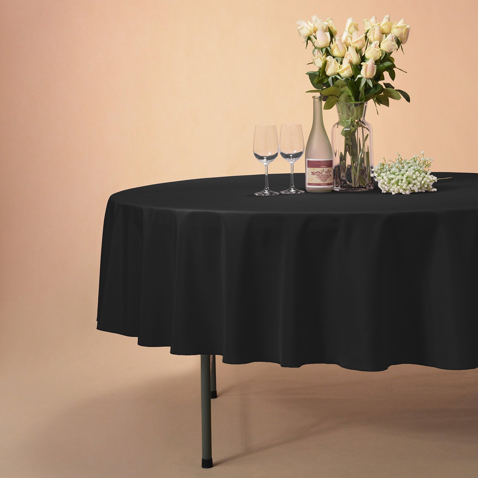 VEEYOO Tablecloth 70 inch Round Solid Polyester Table Cover for Wedding Restaurant Party Picnic Indoor Outdoor Use, Black by VEEYOO (Image #4)