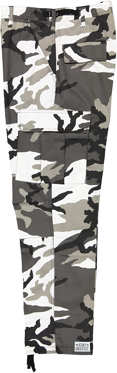 Amazon.com  Army Universe Mens Urban City Camo Black   White Camo Metro  Urban Cargo Pants Military BDU Fatigues with Pin  Clothing e109596575