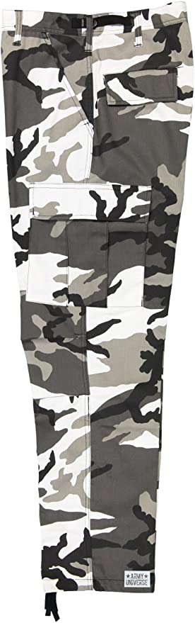 Army Universe Mens Urban City Camo Black   White Camo Metro Urban Cargo  Pants Military BDU ... 656ff0983f4