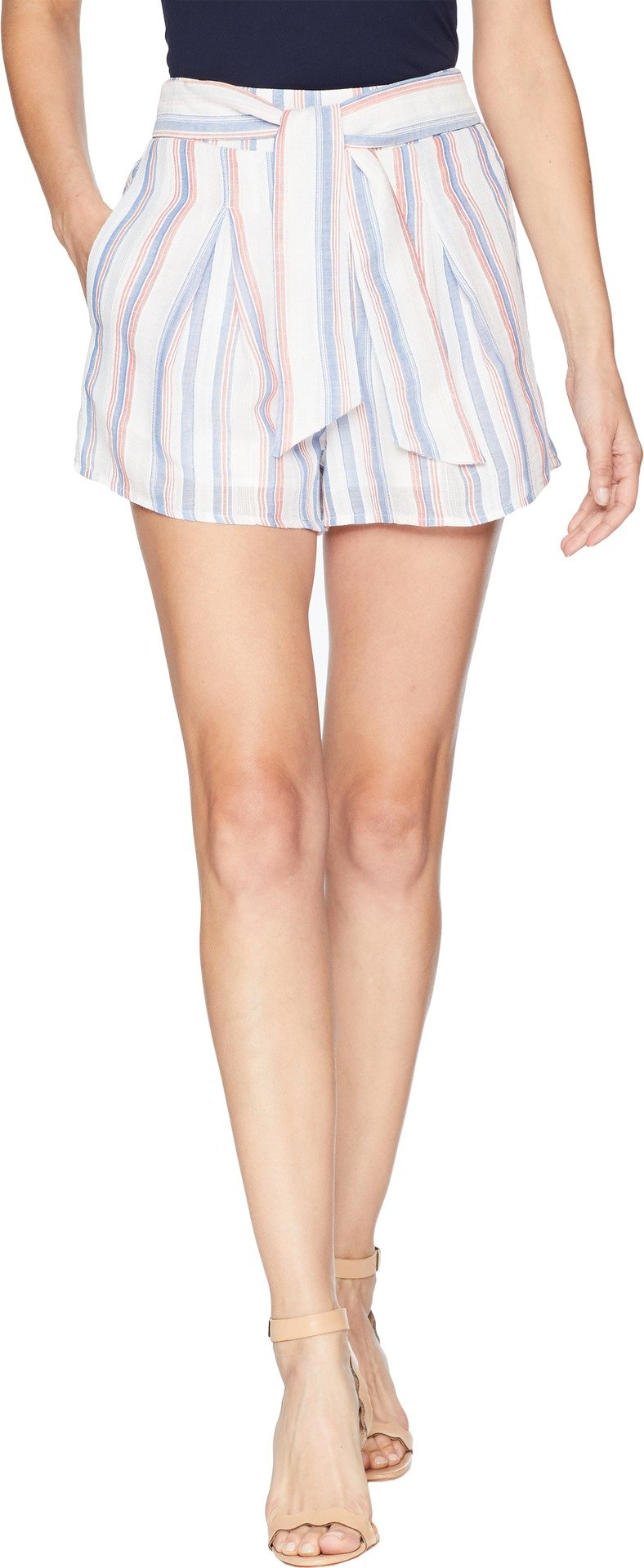 JOA Women's Pleated Elastic Striped Shorts with Waist Tie, Red/Sky Stripe, s