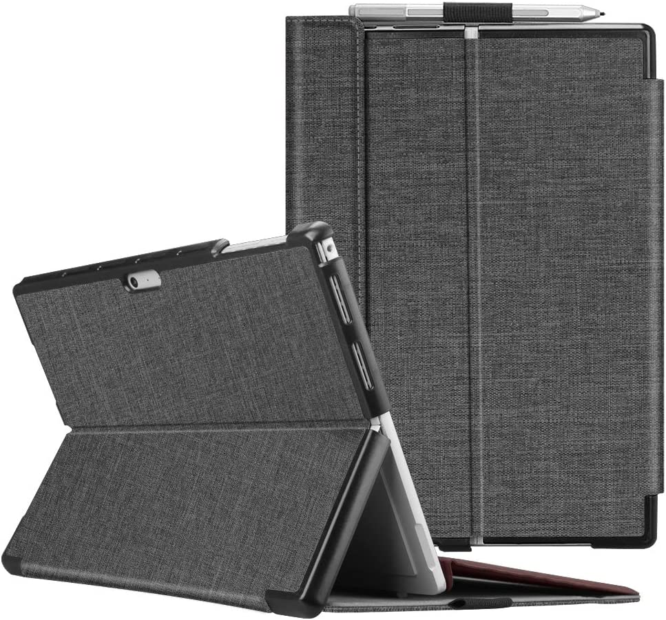 Fintie Case for Microsoft Surface Pro 7 Compatible with Surface Pro 6 / Surface Pro 5 12.3 Inch Tablet, Hard Shell Slim Portfolio Cover Work with Type Cover Keyboard, Denim Charcoal