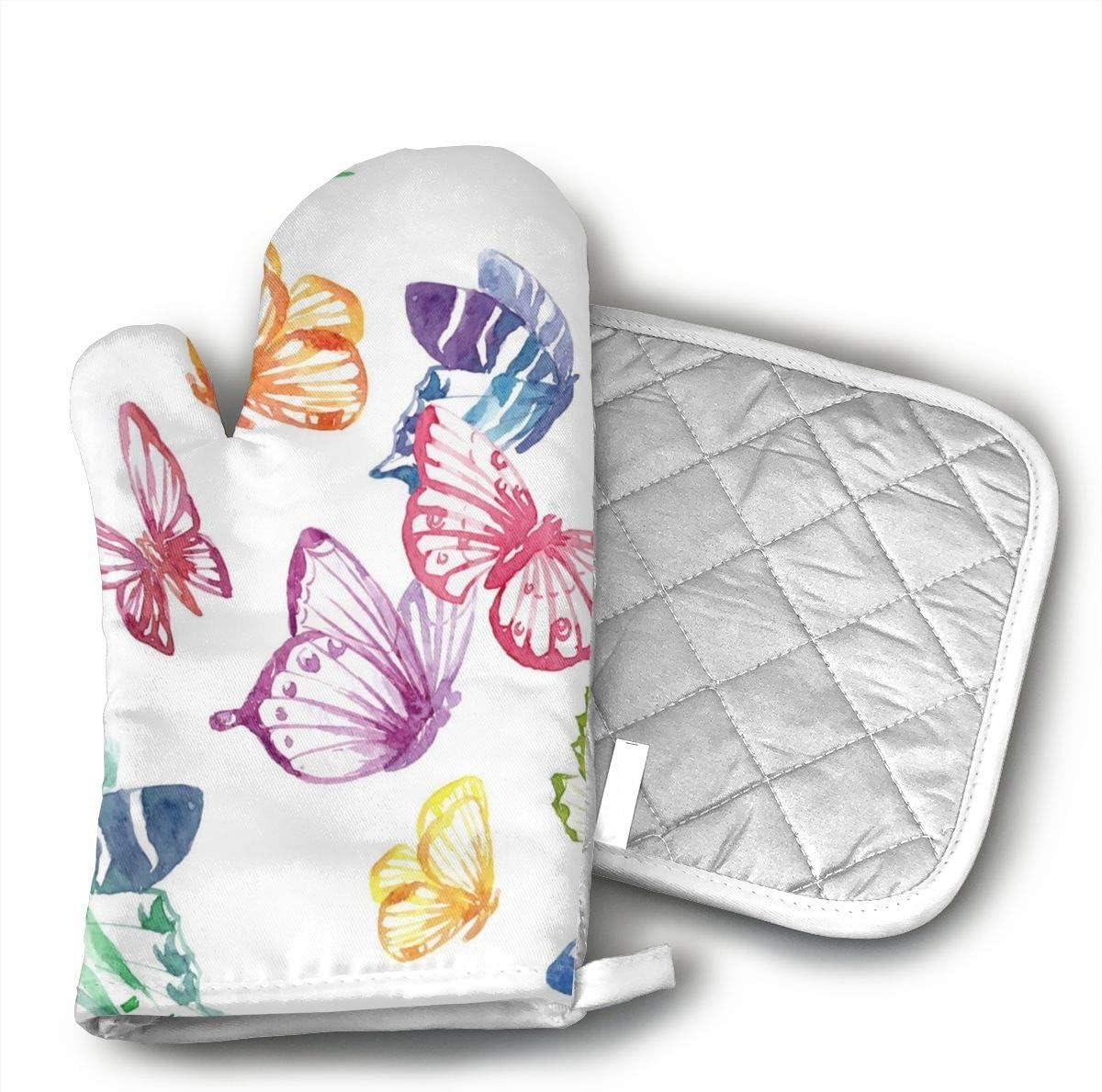 dtyGHSP Watercolor Butterfly Cotton Oven Mitts Pot Holders Set - Kitchen Oven Mitt Heat Resistant, Non-Slip Grip Oven Gloves PotholderCooking,Baking & BBQ,