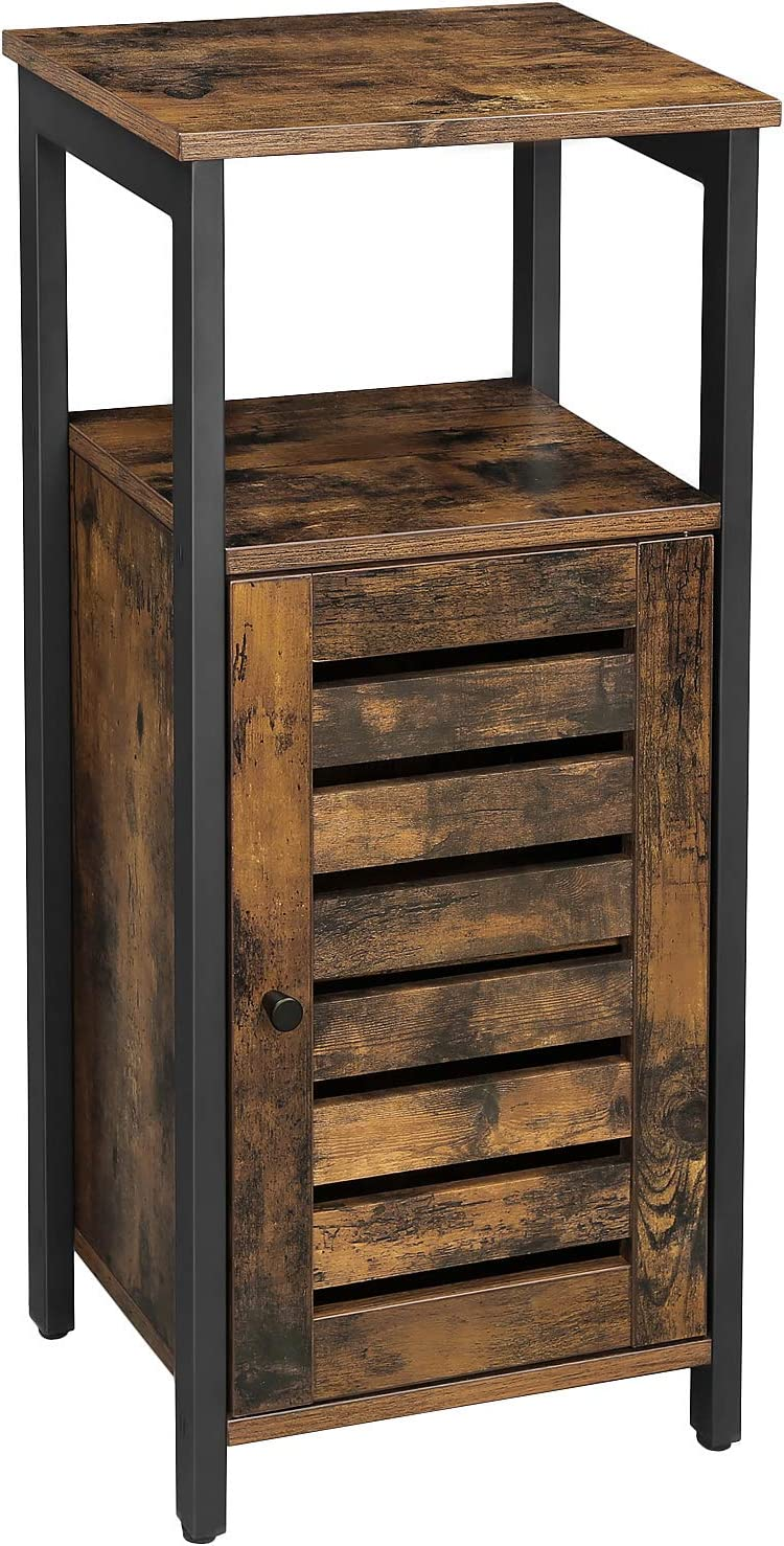 VASAGLE Industrial Bathroom Storage Cabinet, End Table, Storage Floor Cabinet with Shelf, Multifunctional in Living Room, Bedroom, Hallway, Rustic Brown ULSC34BX