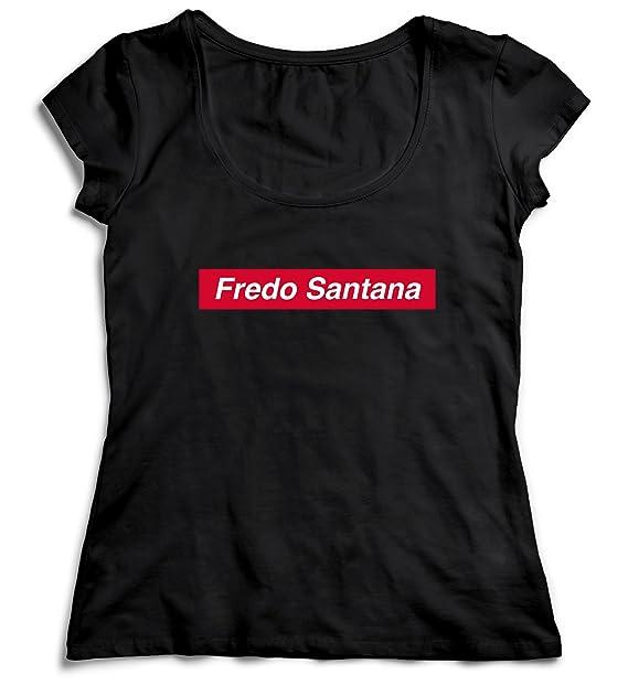 MYMERCHANDISE Fredo Santana Supreme T-Shirt Camiseta Shirt para la Mujer Camisa Negra Womens Women