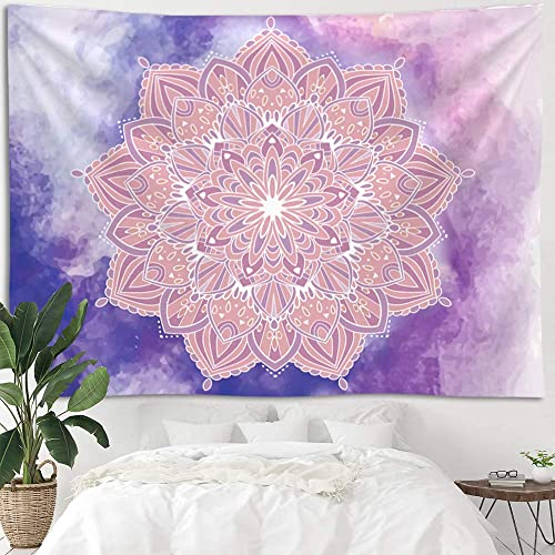 Mandala Purple Pink Ombre Tapestry Wall Hanging, Bohemian Psychedelic Theme Tapestries for Home Dorm Living Room Bedroom Ceiling Decor, Large Colorful Passion Hippy Blanket for Men Women 70*90 inch