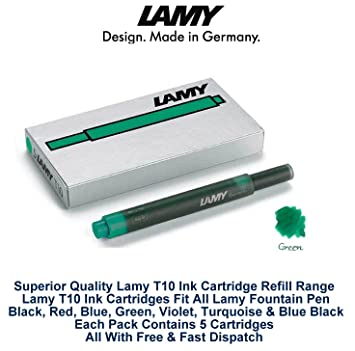 Lamy T10 cartuchos de tinta verde pluma estilográfica recambios Nexx - Vista de repuesto Pack Of 5 (25 Ink Cartridges): Amazon.es: Oficina y papelería