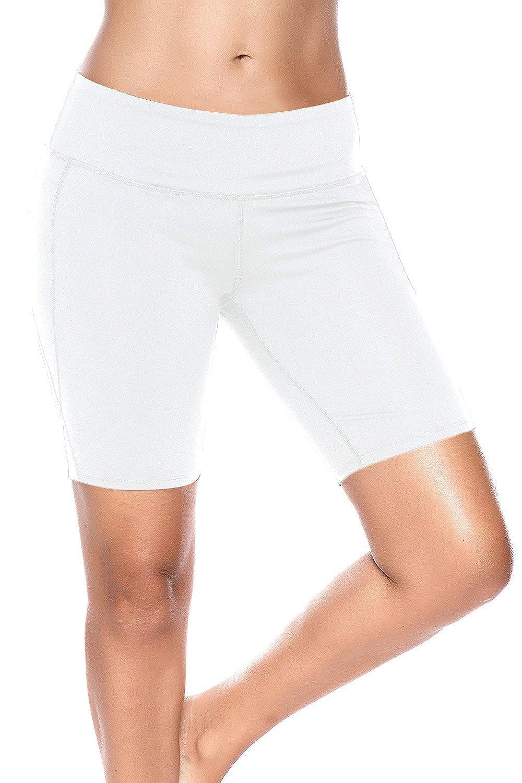 White Medium Nihoe Womens High Waist Athletic Running Workout Shorts Bike Running Yoga Shorts
