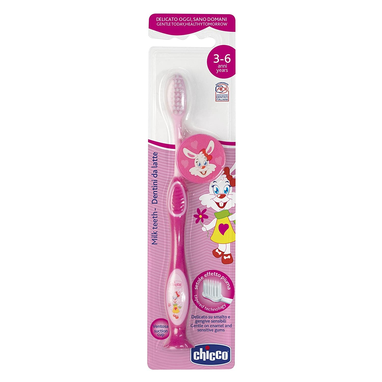 Chicco - Cepillo dental con cerdas extra finas para niños de 3-6 años, color rosa: Amazon.es: Bebé