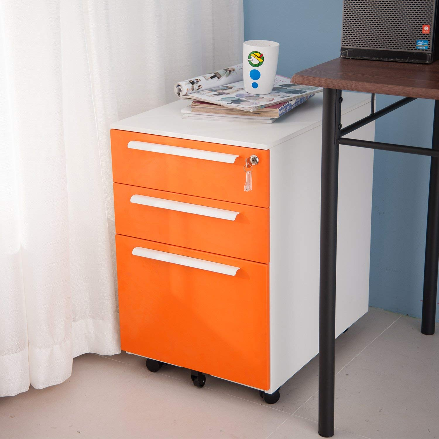 Merax 3 Drawer Mobile File Cabinet Metal Solid Storage File Cabinet with Keys (Carrot)