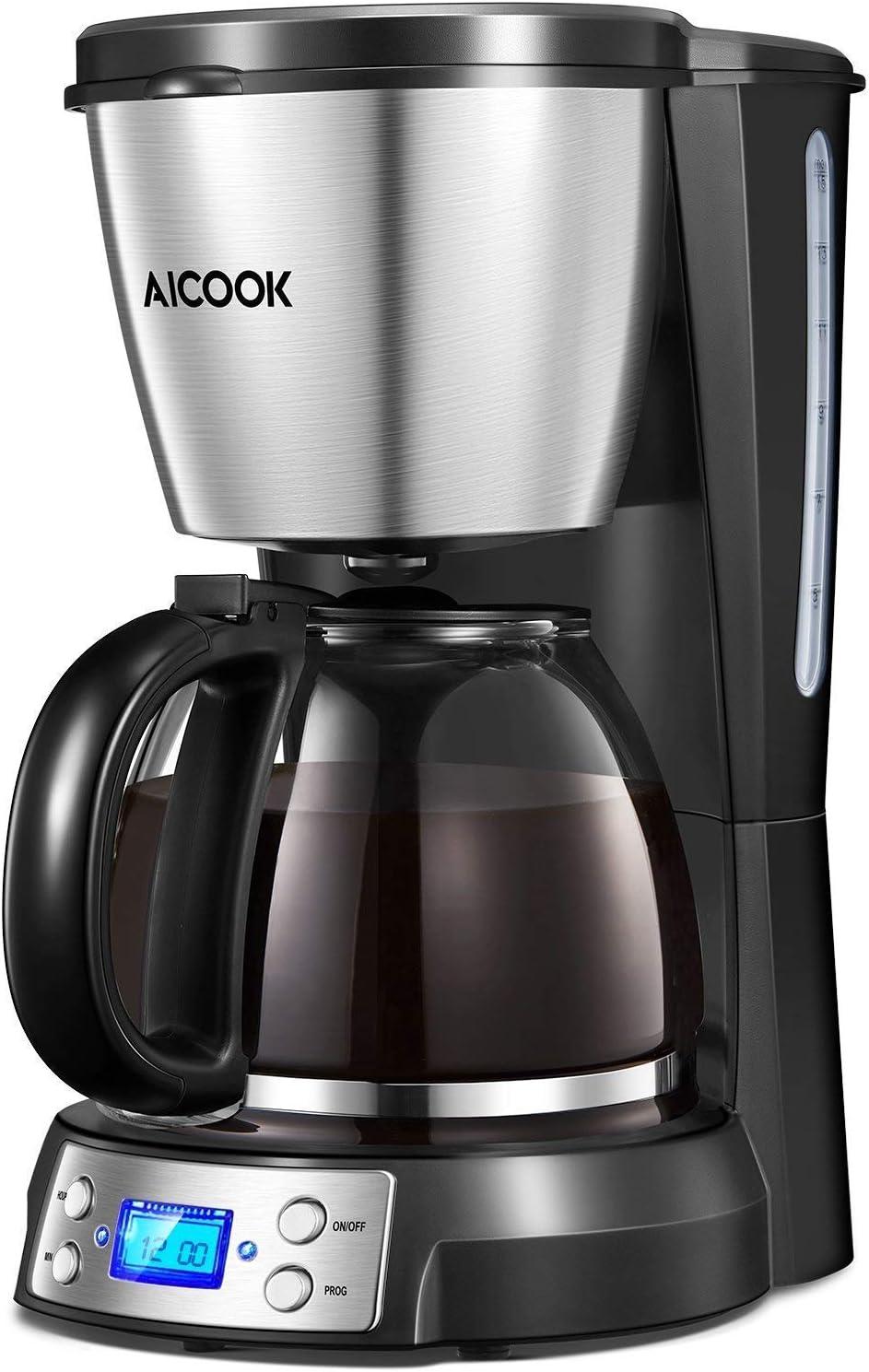 Aicook - Cafetera de Filtro con Jarra de Cristal, Pantalla con Reloj, Aislamiento y Filtro de café Permanente, 12 Tazas, 900 W, depósito de Agua de 1500 ml, Ventana de Agua, Color