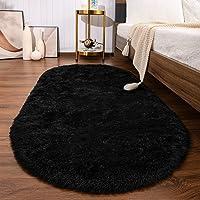 SANMU Soft Velvet Silk Rugs Simple Style Modern Oval Shaggy Carpet Fashion Bedroom Mat for Dining Living Room Rugs for…
