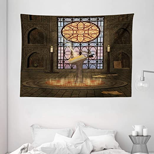Amazon Com Ambesonne Gothic House Decor Tapestry Lectern On Pentagram Symbol Medieval Architecture Dark Spell Altar Wall Hanging For Bedroom Living Room Dorm 80 X 60 Inches Olive Green Mustard Home Kitchen