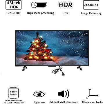 Wendry Televisor LED Inteligente 4K de 43 Pulgadas, curvatura 3000R Pantalla Curva Grande Televisor Inteligente Montaje en Pared 4K HDR HD TV Versión de Red Smart TV para Android(UE): Amazon.es: Electrónica