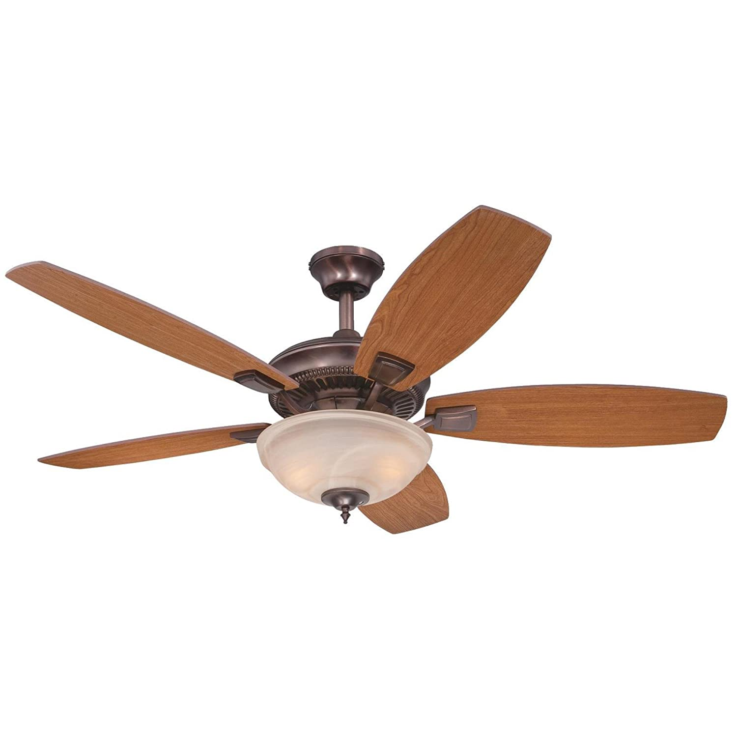 Westinghouse Lighting 7200600 Tulsa Two-Light 52 Reversible Plywood Five-Blade Indoor Ceiling Fan, Oil Brushed Bronze with Amber Alabaster Glass Bowl
