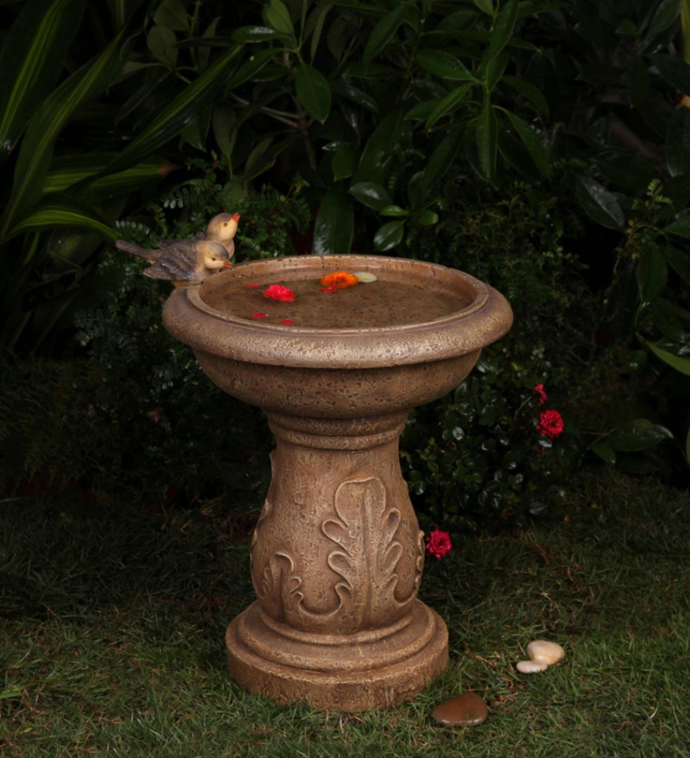18.1  Latte Brown Italian Leaf Faux Stone Outdoor Patio Garden Birdbath Fountain