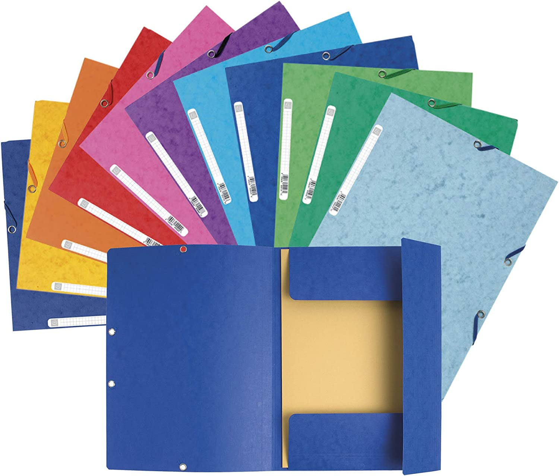 Un lot de 11 chemises /à /élastiques 3 rabats en carte lustr/ée 24x32 cm 400 g Exacompta 55510AMZE 10 + 1 gratuite 10 couleurs assorties /& Basics Agrafeuse avec 1000 agrafes Noir