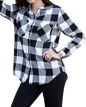 0b0548c1 ACHIOOWA Womens Buffalo Plaid Shirt Flannel Long Sleeve Tops Button Down  Collar with Pocket Black 4