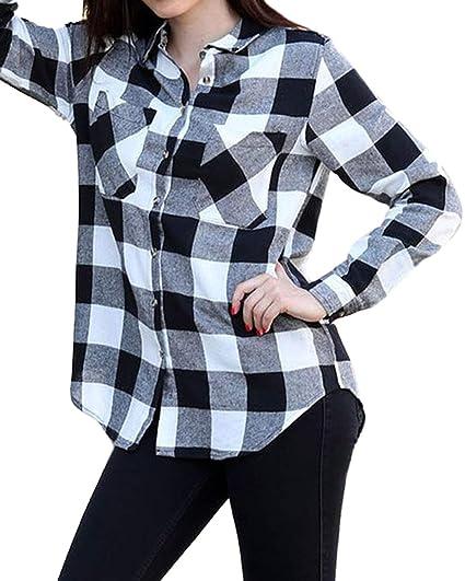 af3037ab62b0c ACHIOOWA Womens Buffalo Plaid Shirt Flannel Long Sleeve Tops Button Down  Collar with Pocket Black 4