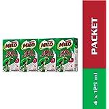 MILO UHT 50% Less Sugar Chocolate Malted Milk 125ml,  125 ml  (Pack of 4)