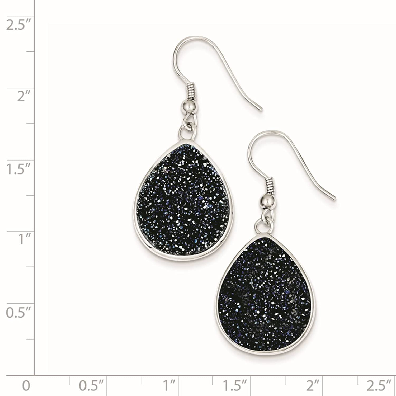 925 Sterling Silver Dark Blue Druzy Teardrop Dangle Earrings
