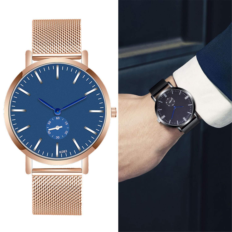Amazon.com : freedomer Casual Men Watch Luxury Crystal Stainless Steel Mesh Analog Quartz Wrist Watch Business Men Watch relojes para Hombre(D, ...