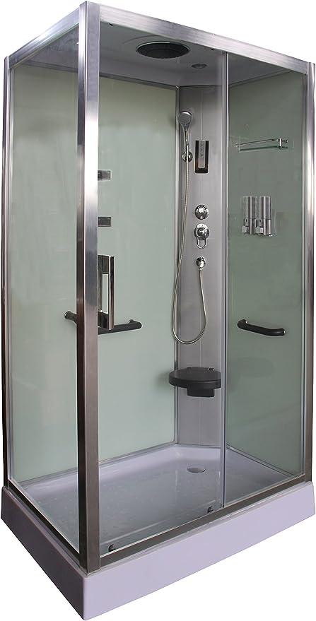 Cabina de ducha blanca DP-8001 SIN SAUNA (120 x 80 x 210 cm ...