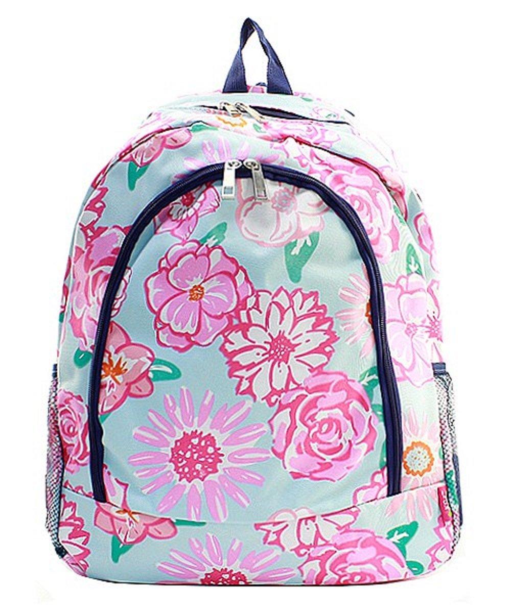 Flower Canvas Backpack Handbag (Navy Blue)