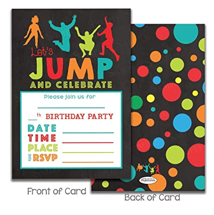 Image Unavailable Not Available For Color Kids Jumping Birthday Party Invitations Trampoline Park