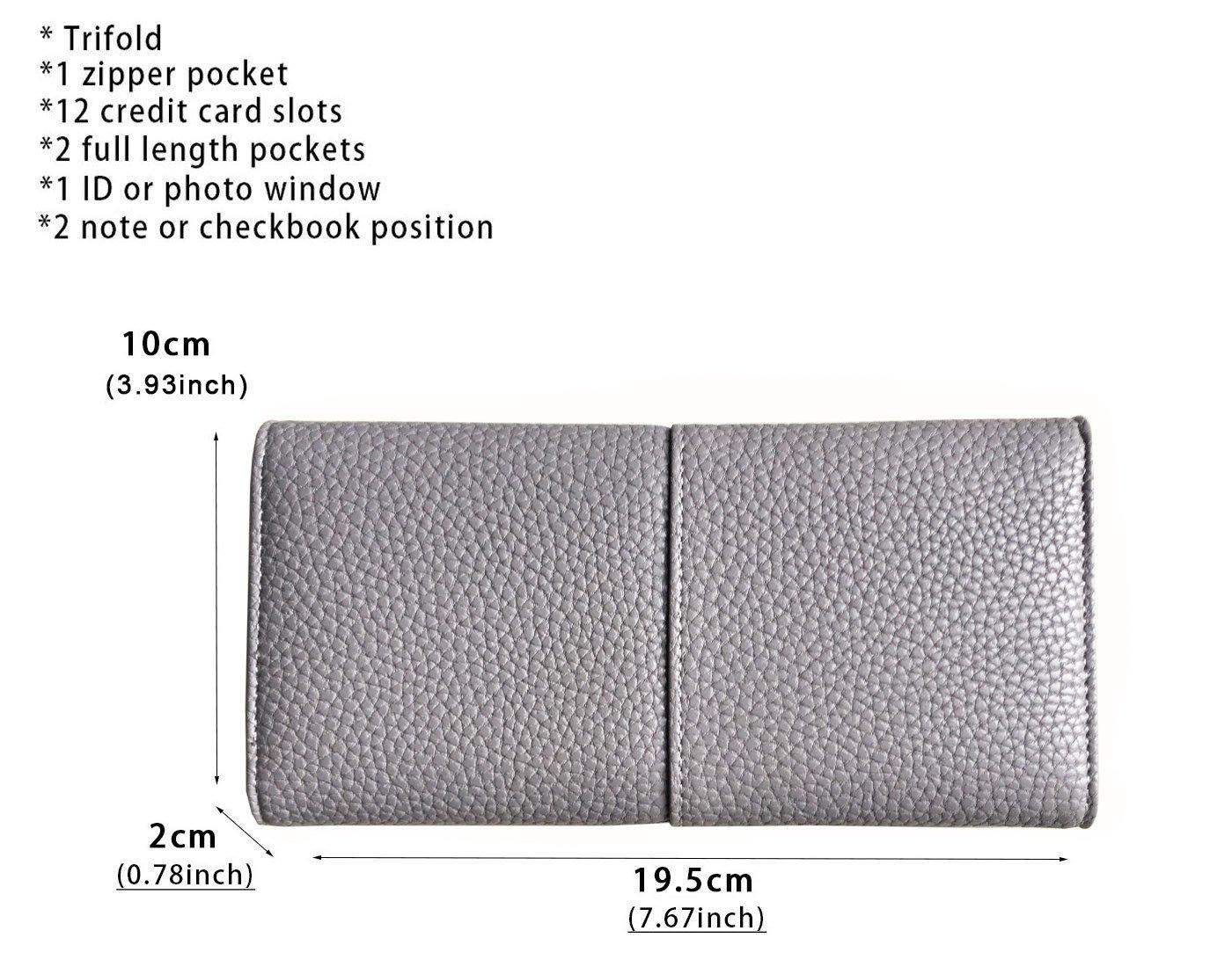 Rfid Blocking Leather wallet for women Girls,ladies long purse Large Capacity(Grey) by YOTOO (Image #7)